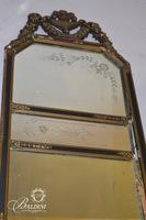 Antique Etched Mirror with Foliate Carving - Damaged