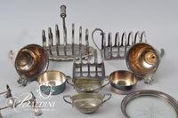 Silverplate Toast Rack  and Other Items Including Pewter Cups