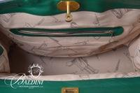 "Salvatore Ferragamo Principe Green Leather Travel Back with Brass Plates Stamped with ""Principe"""